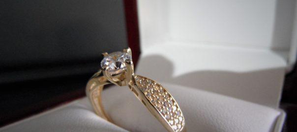 Złoto 585 Złoty Pierścionek Z Cyrkoniami Zaręczynowy Lombard